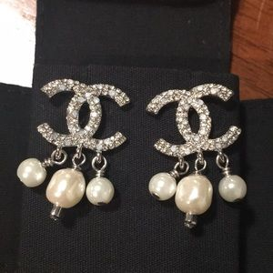 Chanel pearl crystal silver earrings